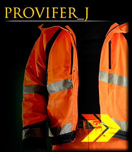 PROVIFER_J - Jacket made of fluorescent fabric insulated with sheepskin.