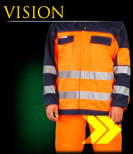 VISION - Clothing made of fluorescent polyester fabric.